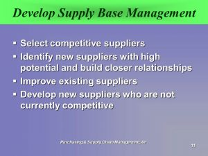 Develop Supplier relationship to a higher level