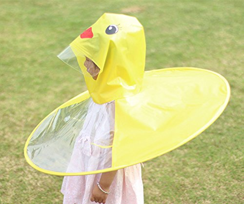 Cute Rain Coat UFO Children Umbrella Hat Magical Hands Free Raincoat ... f8041a529514