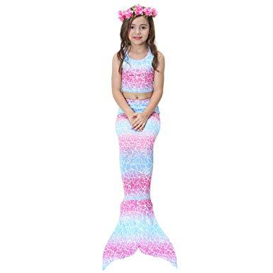 Girls Swimsuit Mermaid Tail For Swimming Tropical Bikini Masquerade Pool Party