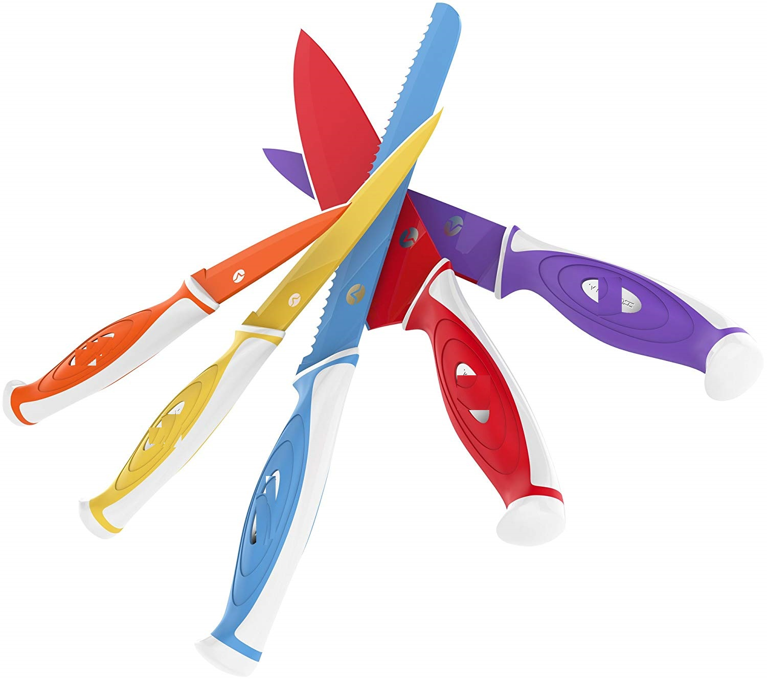 10 Piece Colorful Knife Set - 5 Kitchen Knives with 5 Knife Sheath Covers
