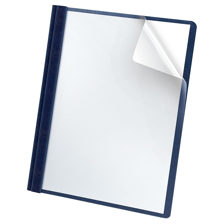 Premium Clear Front Report Cover, Letter Size, Dark Blue, 25 per box