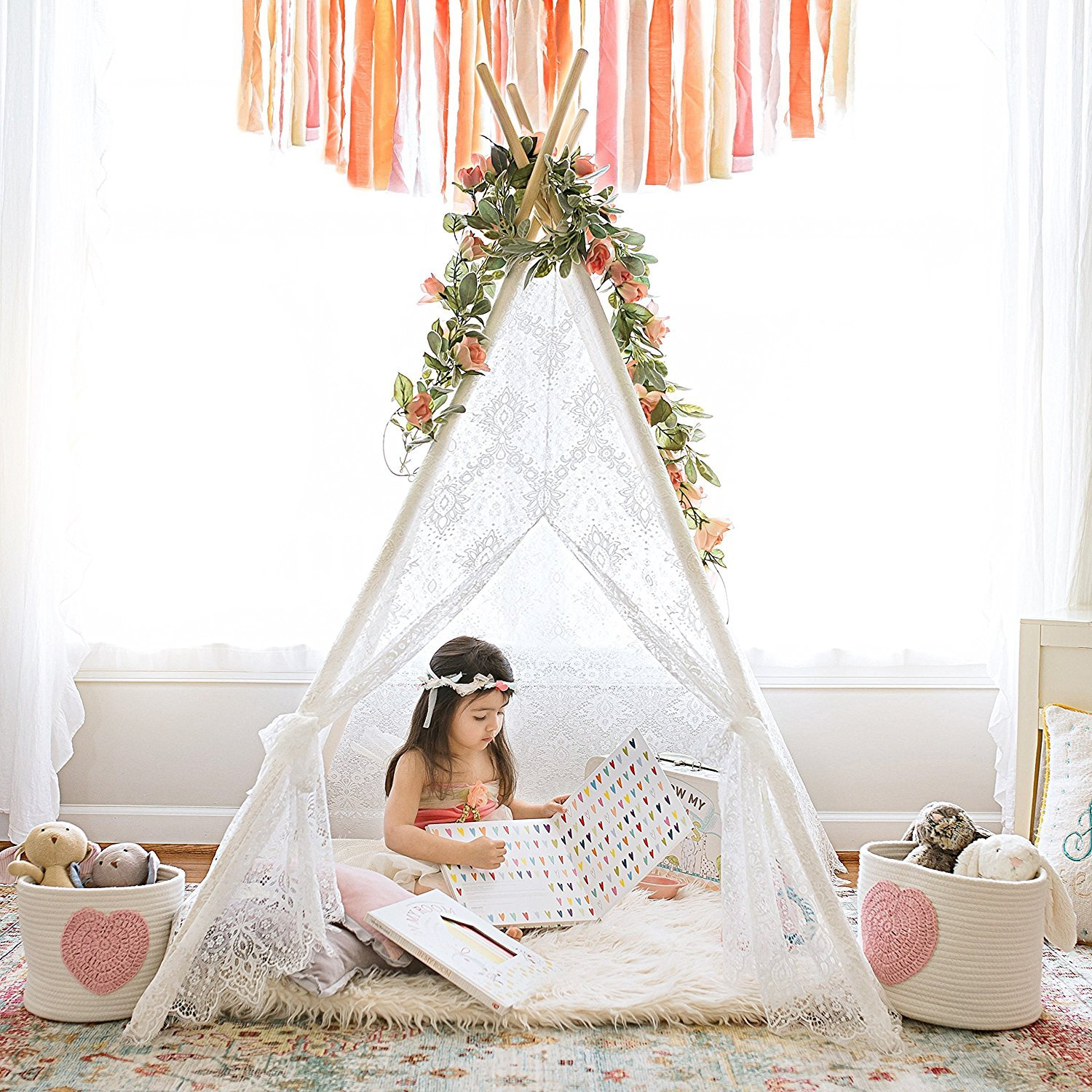 save off e687d 323ba Kids Teepee Tent for Indoor Outdoor Children Play Tent , 5' Boho Lace Tipi
