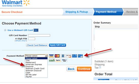 Walmart Payment Method
