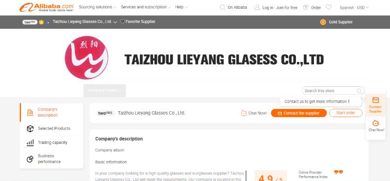 9. Taizhou Lieyang Glasses Co., Ltd